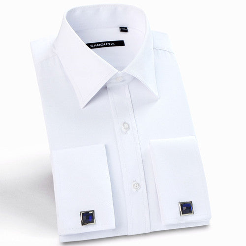 High Quality Mens Luxury French Cuff Button Dress Shirts 2016