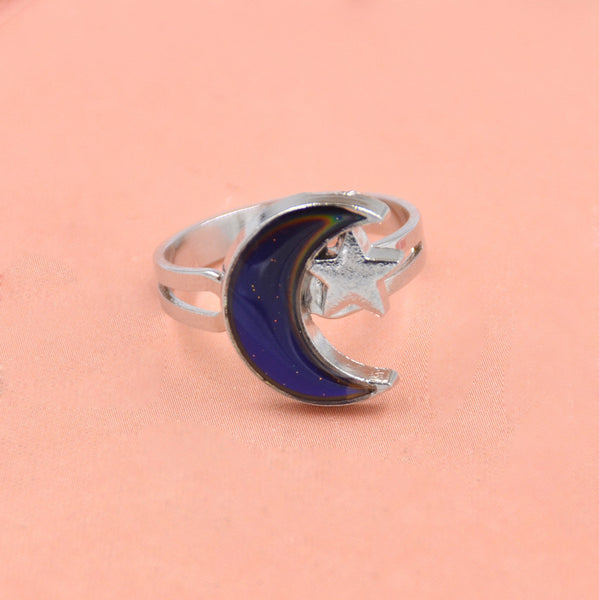1pc Moon & Star Shaped Mood Ring Adjustable Novelty Ring Fashion Jewelry - Gifts Leads
