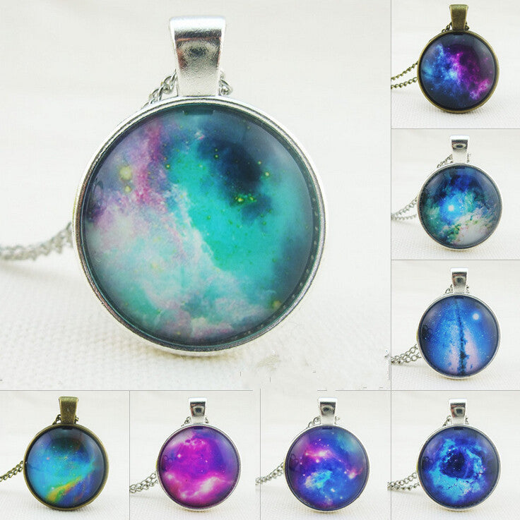 Fantasy Starry Sky Pendant Necklace Cabochon Glass Vintage Bronze Chain Necklace Jewelry Handmade