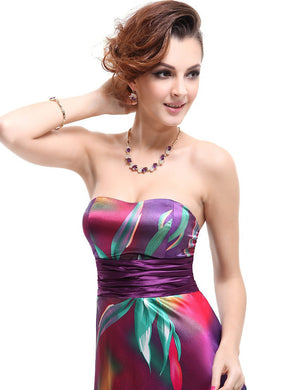 Hot Selling Strapless Colorful Satin Printed Empire Line Long Formal Evening Dress
