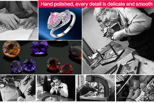 Romantic Jewelry Cock Party  Rings for Women Pink Topaz Amethyst White CZ Diamond 18K White Gold Fashion Ring