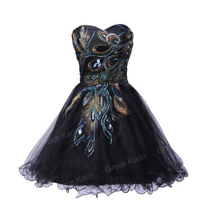 2016 New! Free Shipping Sexy Tulle Ball Gown Distinctive Embroidery Peacock Pattern Black Mini Party Cocktail Dresses