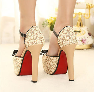 Women high square heel platform pump shoes