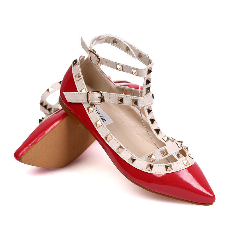 New rivet pointed toe women color block patent leather