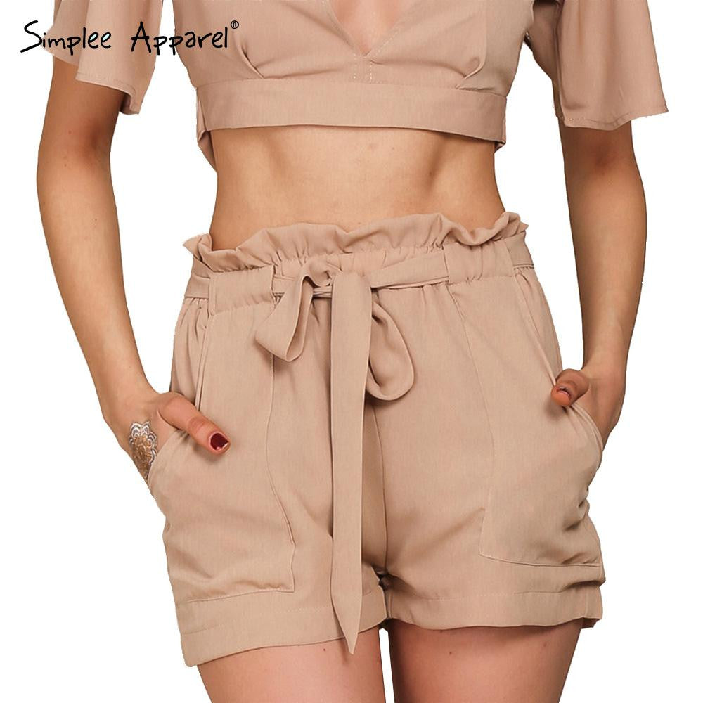 2016 summer new style sports chiffon shorts Bow high waist  belt shorts Solid color pocket casual women shorts