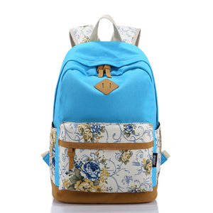 Brand Genuine Quality Leather Canvas Bag Backpack Women Backpack