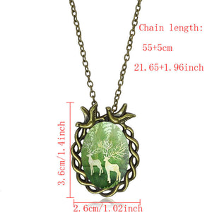 Vintage Jewelry La Tour Eiffel Pendant Necklace Fashion Glass Cabochon Antique Bronze Statement chain Necklace Women Best Gift