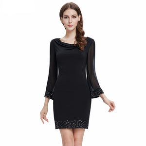 Free Shipping Black Long Sleeve Scoop Neck Sequined Short Party Dress