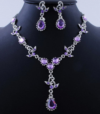 Luxury Fashion vintage statement jewelry sets necklace earrings  bridal jewelry sets