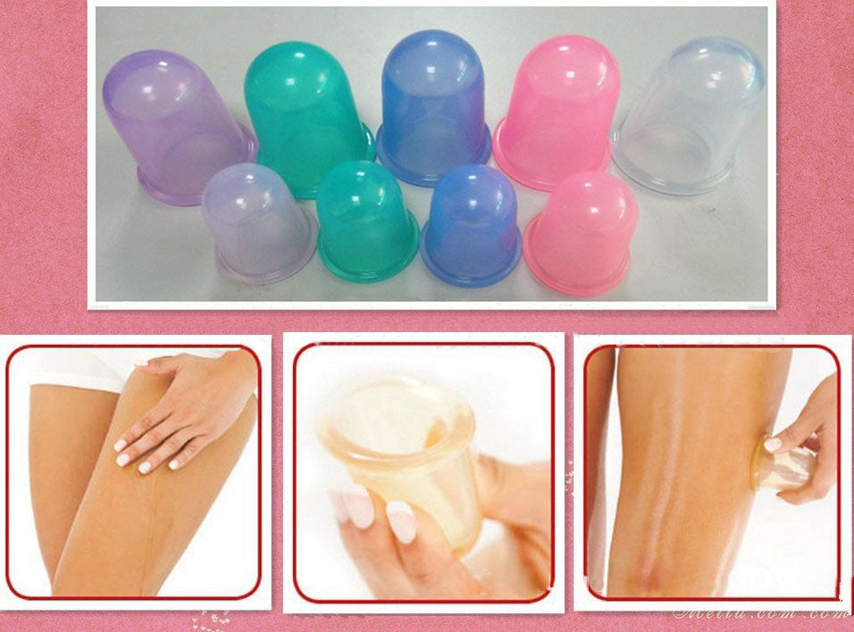 1 Set/4 Pcs Health Care Body Anti Cellulite Silicone Vacuum Massage Eye Neck Face Back Massager Cupping Cup - Gifts Leads