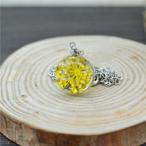 Real Dried Flower Glass ball pendant Necklace glass