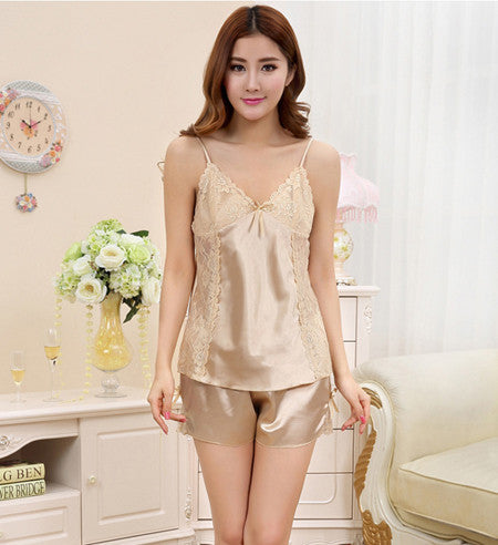Women Silk Pyjama Satin Pijamas Sexy Sleeveless