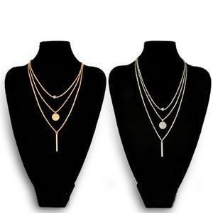 Fashion Geometry Charms Crystal Diamante 3 Layers Gold Sliver Color Pick Chain Necklace Women Jewelry