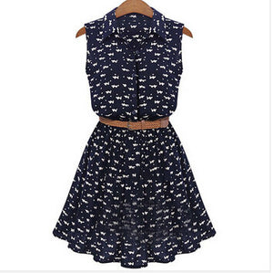 Women  Cat Footprints Pattern Show Thin Shirt Dress With Belt