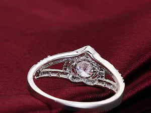 Joias 925 Silver ring aneis heart love zircon