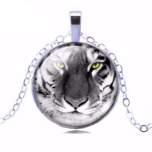 Fashion Bronze Sterling Silver Jewelry for Women Newest Punk tiger Necklace Glass Cabochon Statement Chain Necklace for Women