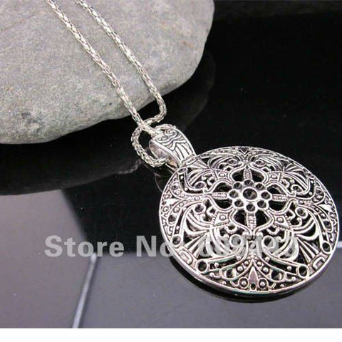 Bohemian Flower Pendant costume Long Tibetan Silver vintage Swag Necklace Jewelry Jewellery bijouterie chain for Women Girl's
