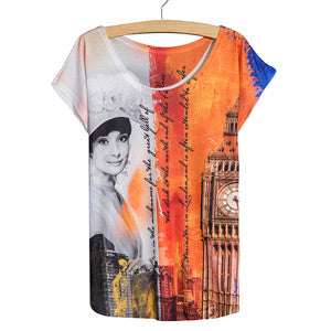 New 2016 Fashion Style Female Ladies' t-shirt slim Summer thin tees Batwing Sleeve Ladies Red Bus Printed Women Top T Shirt