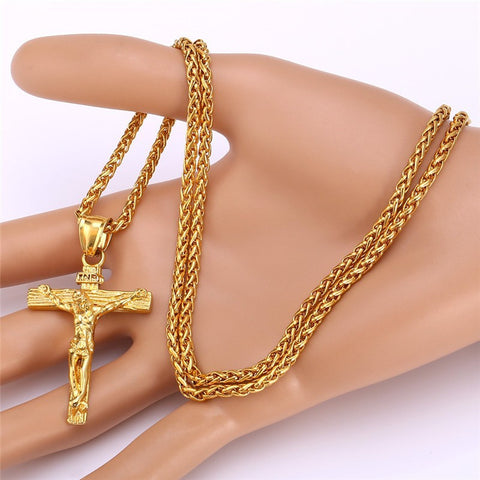 Cross Necklace INRI Jesus Piece Pendants Trendy Christmas Gift Women Men Jewelry Stainless Steel / 18K Gold Plated Chain GP1166