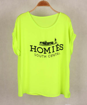 2016 Fashion Brand Women T-shirts with Printed Homies Women Bats Sleeve t shirts high quality Chiffon Tops Loose Tees - Gifts Leads