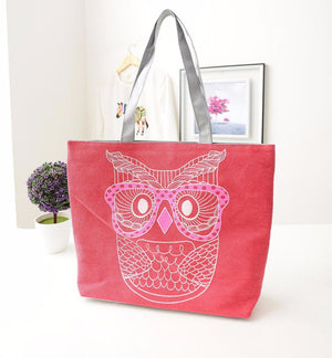 New Arrival Women's Bag Canvas Bag Female One Shoulder Vintage Portable The Owl Pattern Cloth Female Bags Free Shipping