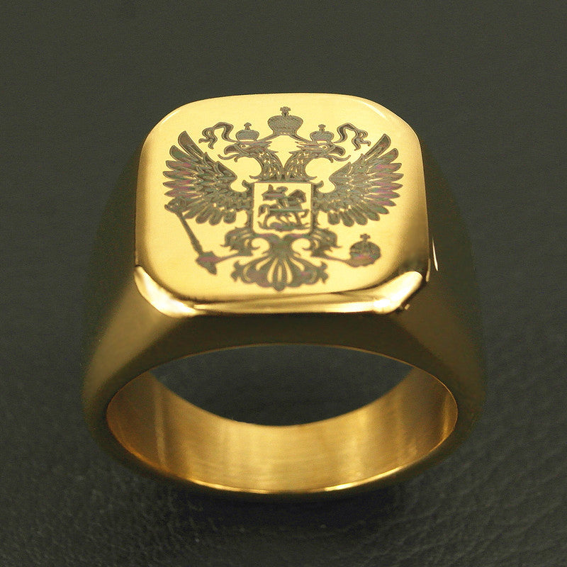 Polished Stainless Steel Band Biker Men's ring a coat of arms of the Russian Signet Ring for men