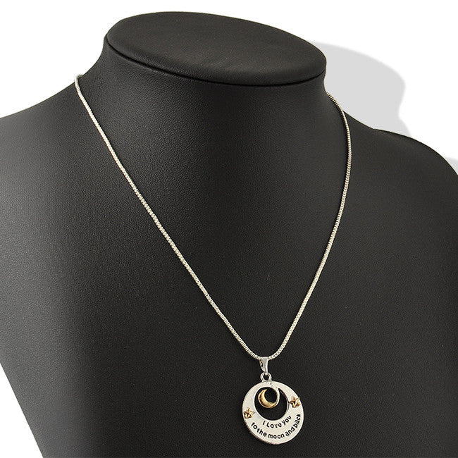 "Mother and Daughter Love Moon Pendant Necklace Mother's Day Gifts ""I love you to the Moon and back""  Letter Chain Necklaces"