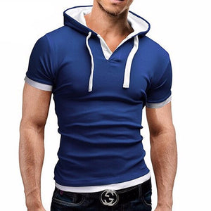 Men'S T Shirt 2016 Summer Fashion Hooded Sling Short-Sleeved