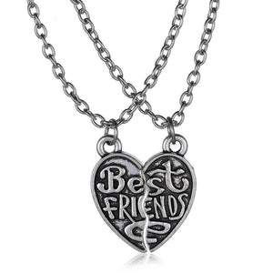 2017 Fashion jewelry long necklace best friend heart to heart silver pendant necklaces for women vogue vintage new design