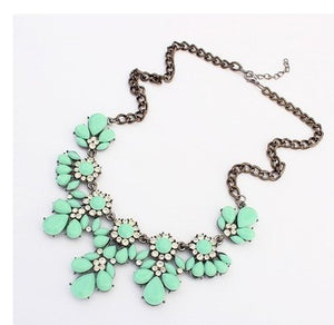 Fashion Jewelry sho rouk yellow excellent quality crystal gem necklace sweet flower chain