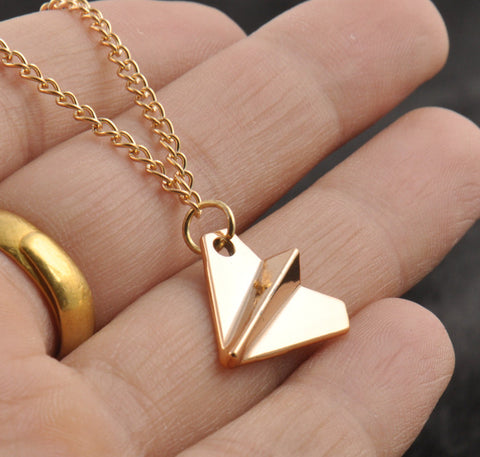 Hot UK 1D One Derection Band Harry Styles Gold Paper Airplane Pendant Necklace Men Women Jewelry Chain Collares Choker Necklaces