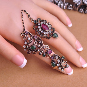 New Arrival Adjustable Turkish Two Finger Rings For Party Women
