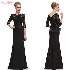 Elegant Long Sleeve Lace Women's Long Black Evening Dress Formal Dresses 2016