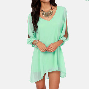 2016 New Summer Chiffon Short Dress Women Loose Sexy
