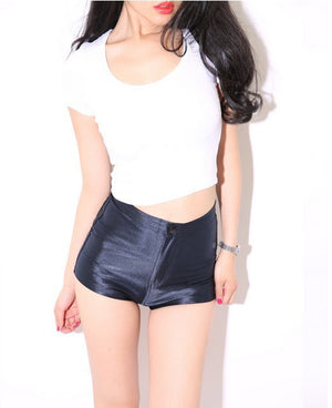 American Stretched High Waist Shorts Disco Pants