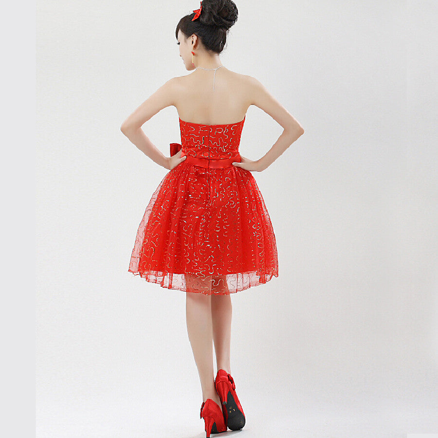 New 2016 sweet tube top bridesmaid dress red short design married paillette formal Prom dress