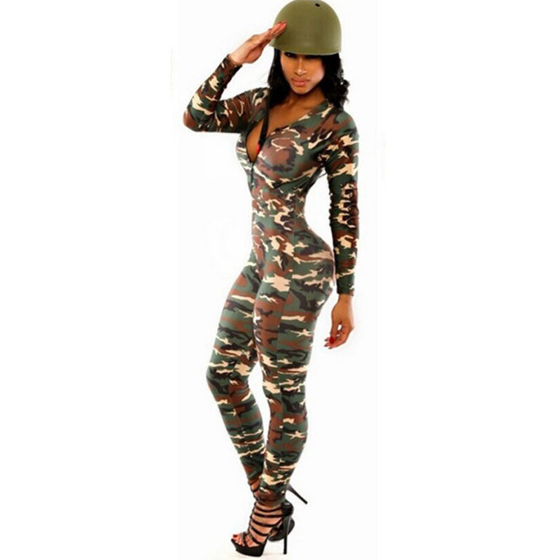 2017 Hot Europen Celebrity Sexy Jumpsuit Women Rompers Renda The Army Soldier Catsuit Long Sleeve Bodycon Playsuit Overall Plus