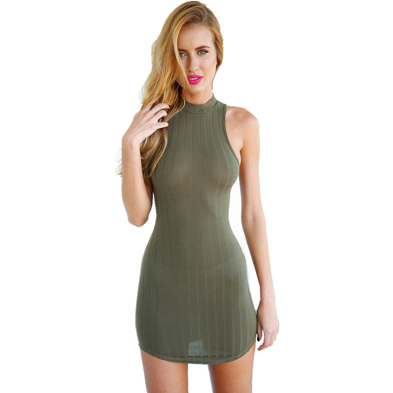 Womens Olive Green Stripped Hatler Bodycon Dress