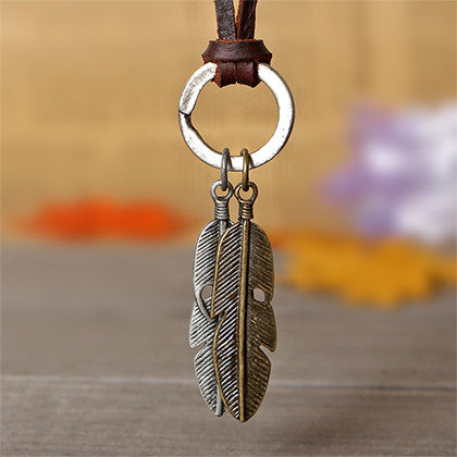 High Quality  Cool Rock Pendant Genuine Leather Long Chain Necklace