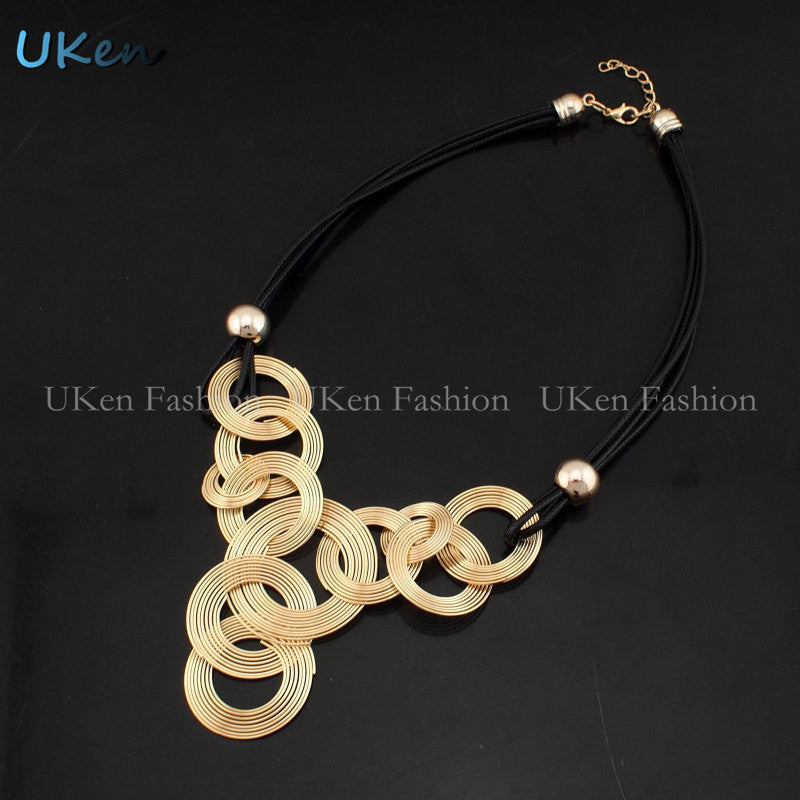 2016 Black Leather Chain Weave Circle Metal Wire Chokers - Gifts Leads