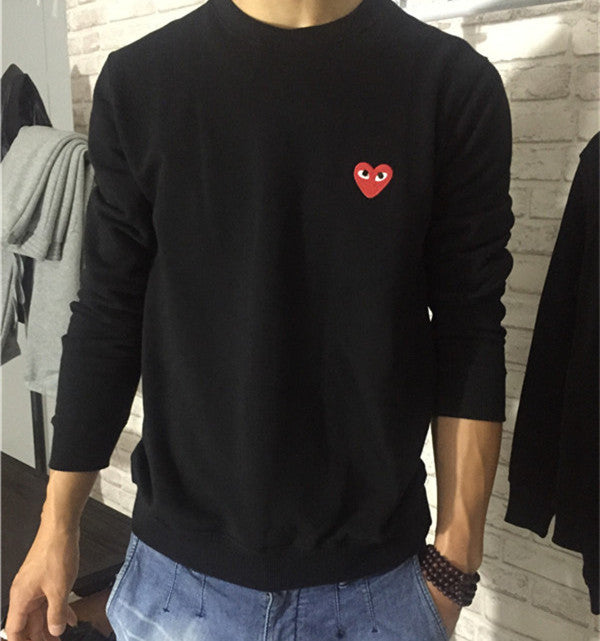 Hot 2016 high quality Mens Hoodies Sweatshirts embroidery heart
