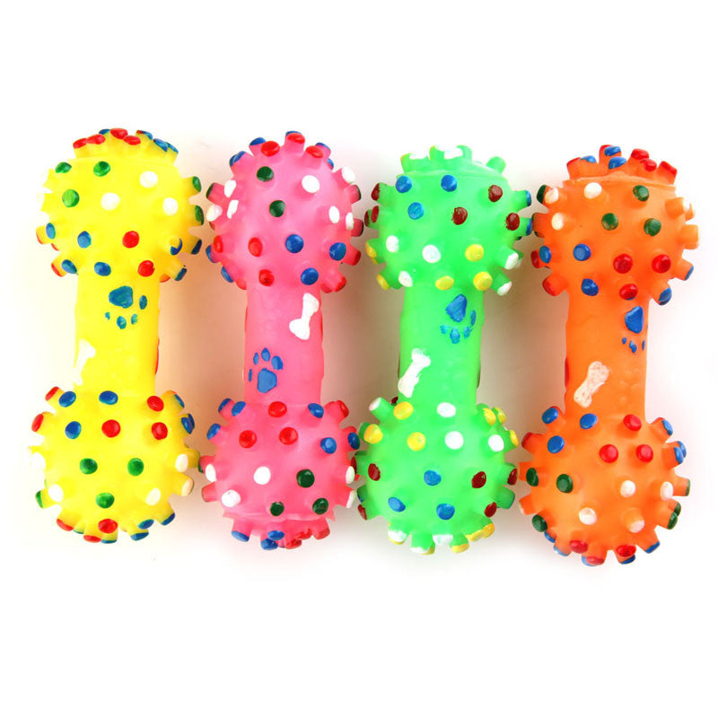 1 PC Pet Dog Cat Puppy Color Sound Polka Dot Squeaky Rubber Dumbbell Chewing Toy color sent randomly 11.5*4.7cm - Gifts Leads