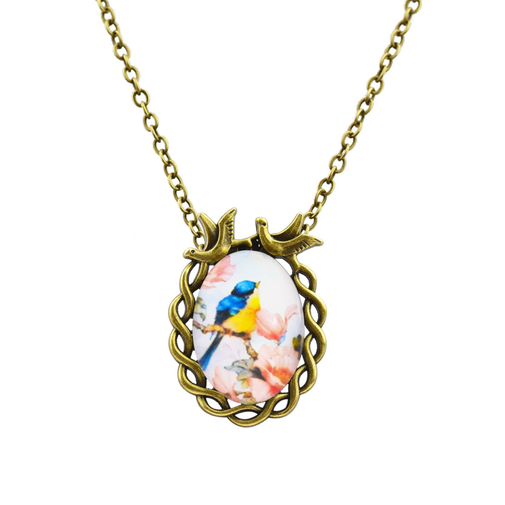Vintage Jewelry Antique Bronze Oval Flower Bird Art Picture Glass Statement Chain Necklace Fine Jewelry Pendant Necklace Women