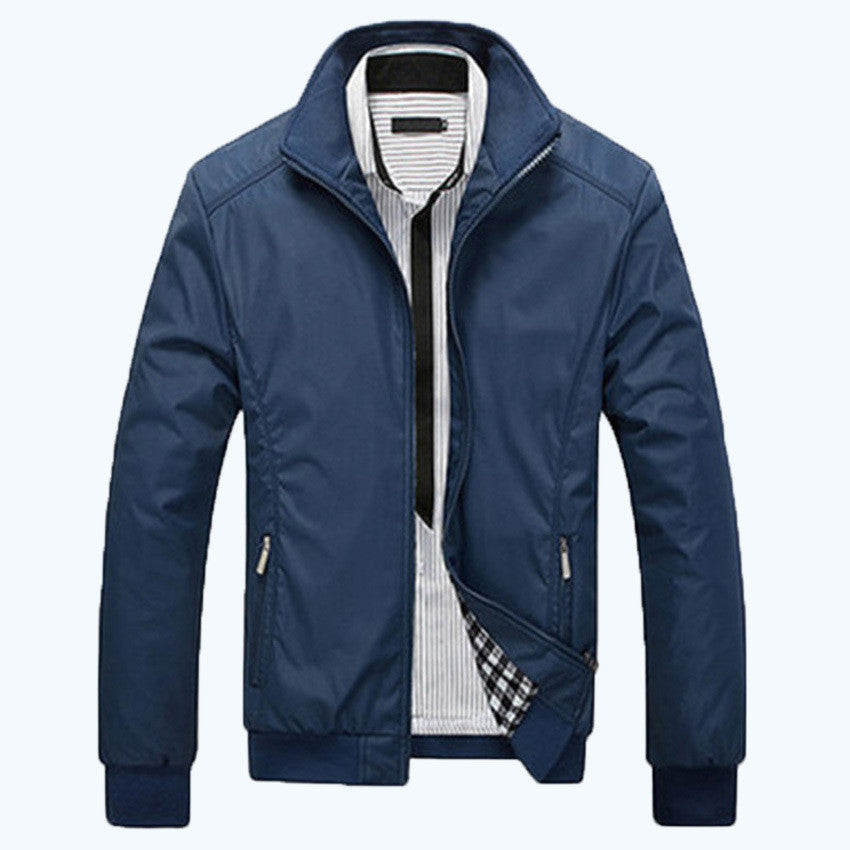 2016 men jacket fashion style thin solid color middle