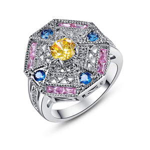 Art Deco Jewelry Party Gift Rings for Women Citrine Pink London Blue