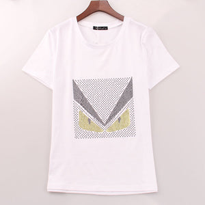2016 fashion brand t shirt women Eye beaded printing t-shirt short sleeve summer casual women tees tops woman clothing - Gifts Leads