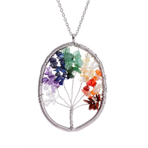 New Jewelry Natural Crystal Stone Necklace Women Wisdom Tree Quartz stone Vintage Pendant Necklaces Floating Plate Necklace