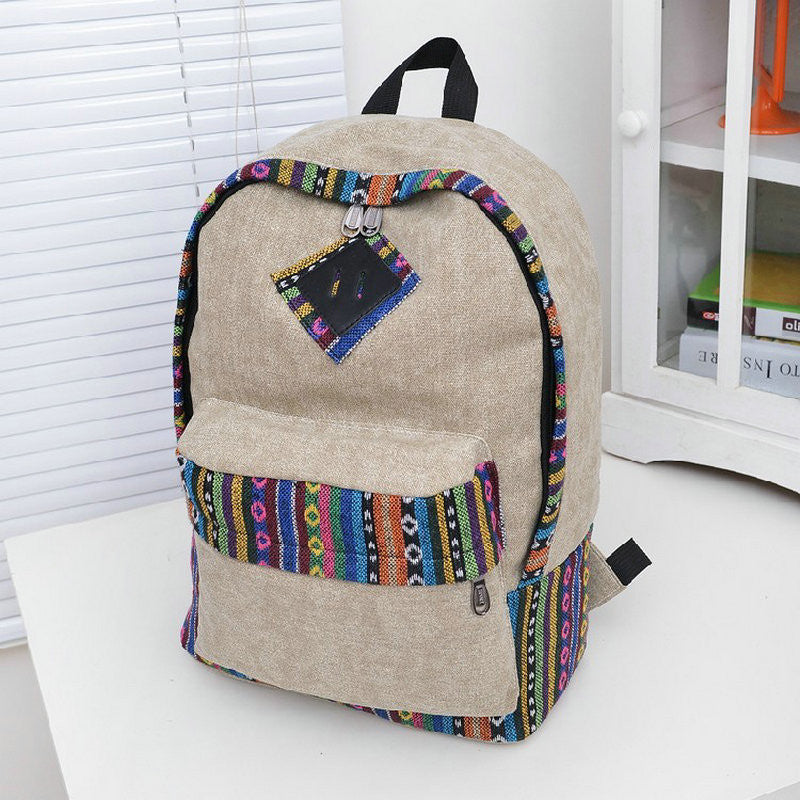 New Female Women Ethnic Brief Canvas Backpack