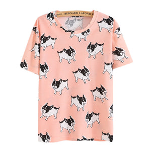 Fashion 2016 Women Summer Casual Harajuku Short T-Shirt Cartoon Animal Print Basic Tops Batwing Sleeve Tee Shirts