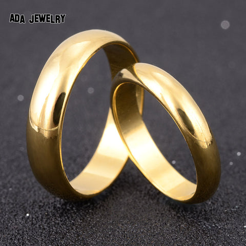 Classic Fashion Couple Rings for Lovers High Polish Yellow Gold Plated
